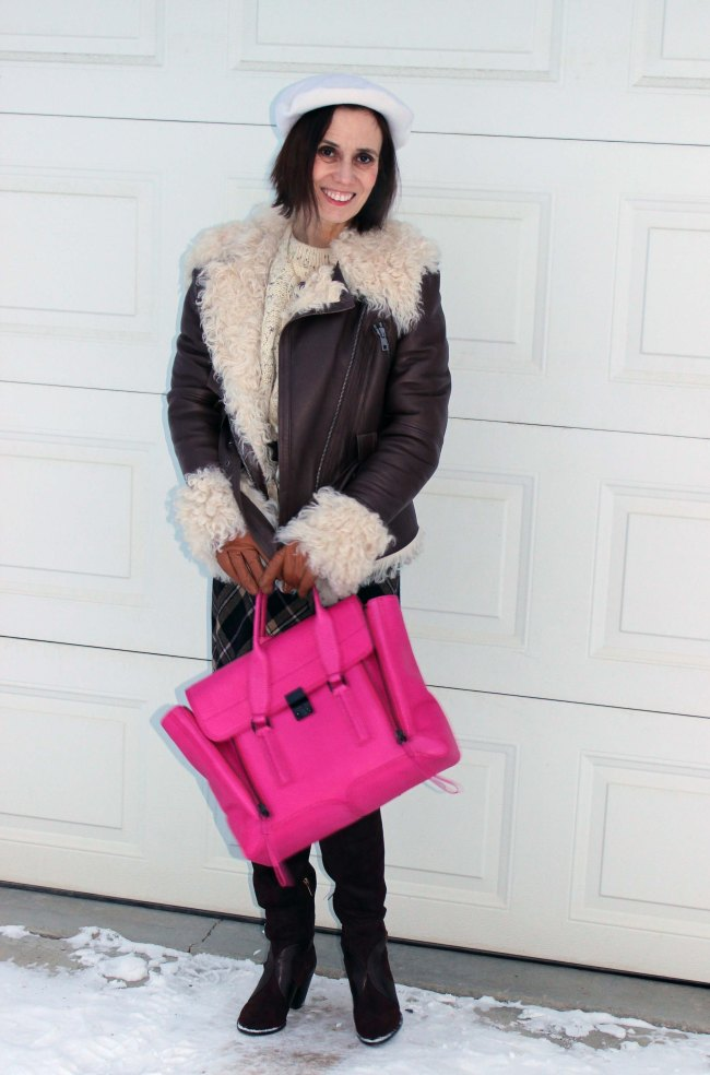 Mature women in shearling motorcycle jacket Mature women styling an oversize cable-knit sweater | High Latitude Style | http://www.highlatitudestyle.com