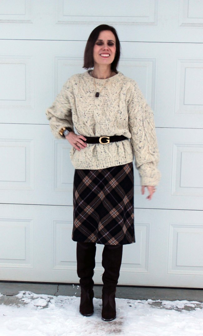 #over40 fashion | Winter look Mature women styling an oversize cable-knit sweater | High Latitude Style | http://www.highlatitudestyle.com