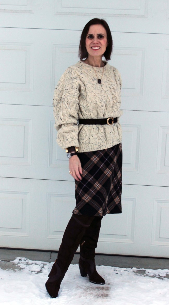 Mature women styling an oversize cable-knit sweater | High Latitude Style | http://www.highlatitudestyle.com