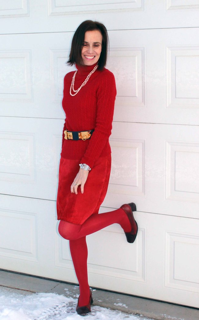 midlife women in hot red outfit