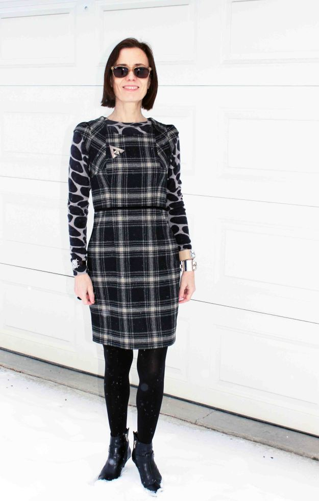 #fashionover40 plaid dress with giraffe sweater for a mature work outfit