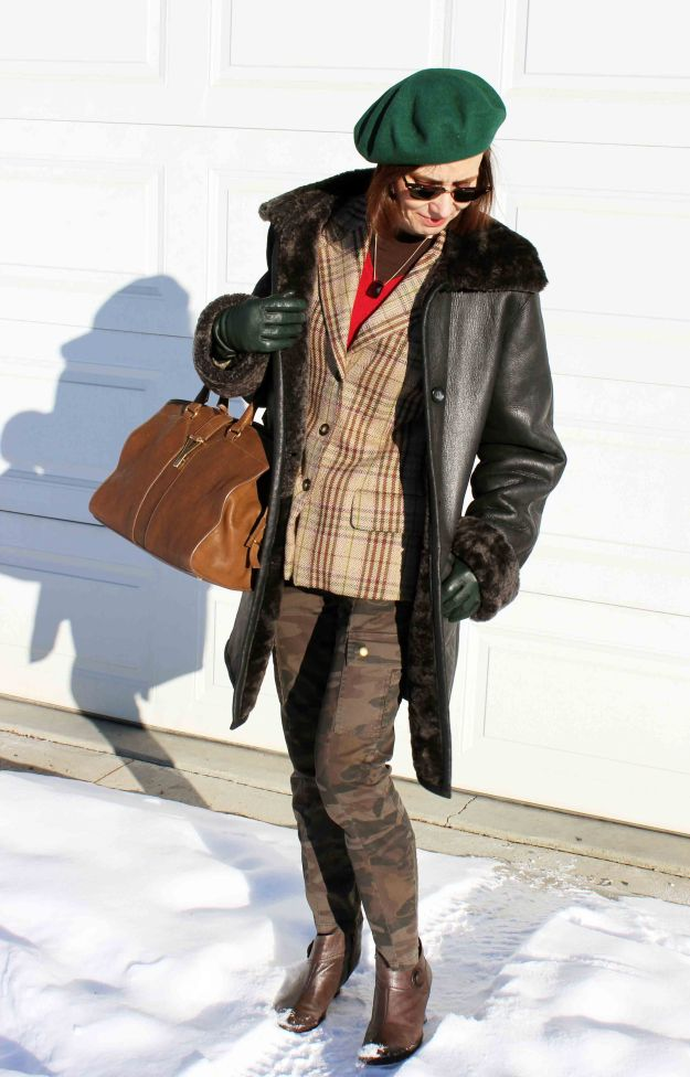 #fashionover50 Winter layering outfit with green beret for mature woman http://www.highlatitudestyle.com