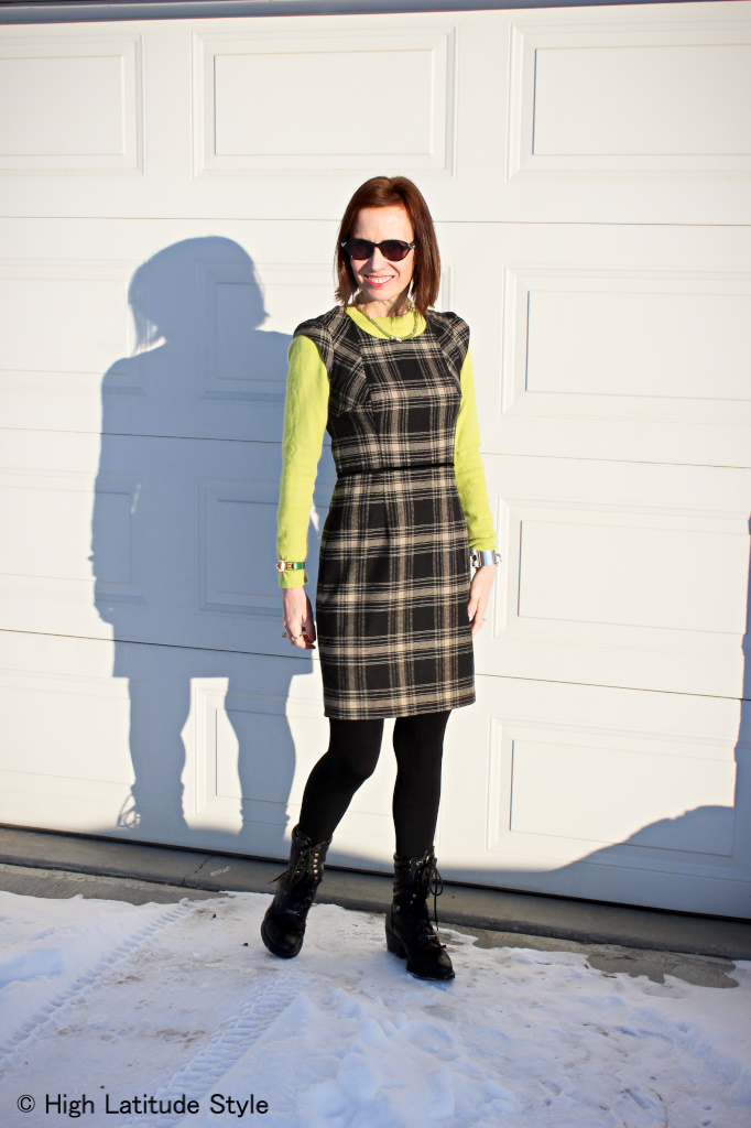 #maturefashion lime green sweater with sheath dress @ http://www.highlatitudestyle.com