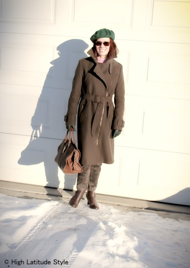#styleover50 Women wearing a green beret and Burberry coat