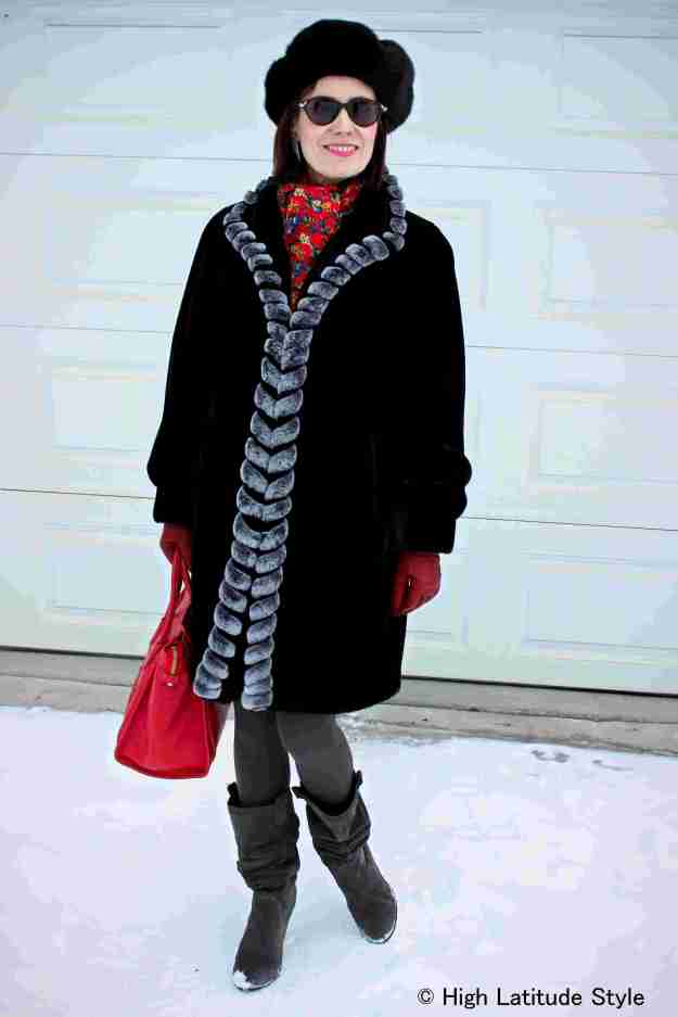 Mature woman in classics winter outerwear