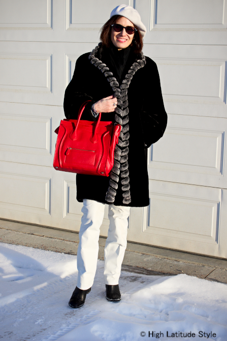 #over40fashion Black and white winter outfit for a mature woman