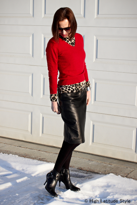 #over40fashion layering a leopard print