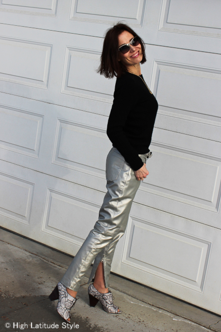 #streetstyleover50 woman in silver leather pants