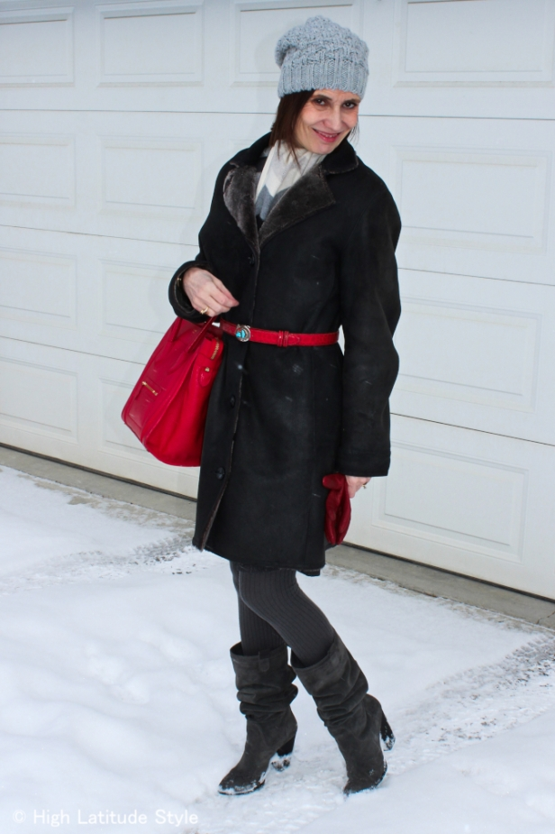 #over-40-fashion Mature woman with pom pom hat  | High Latitude Style | http://www.highlatitudestyle.com