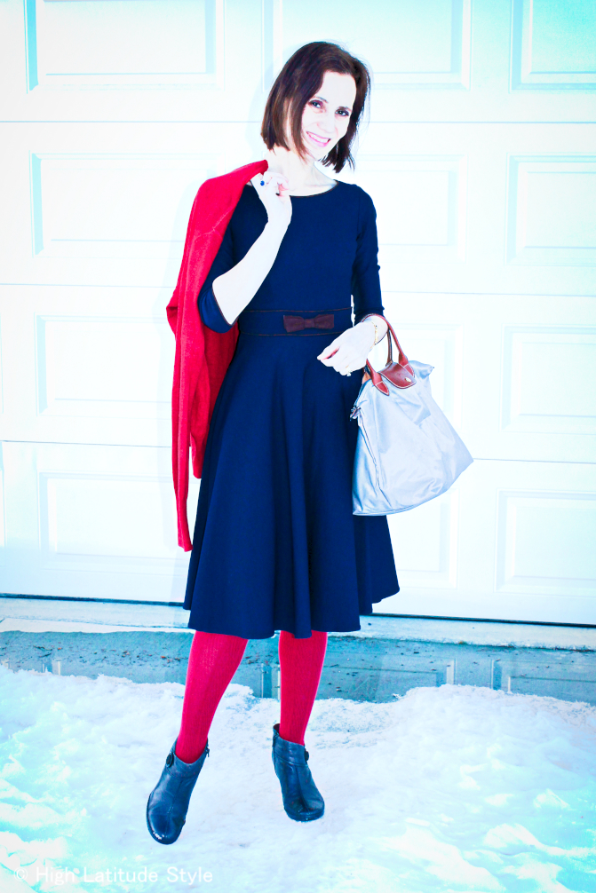 styleover40 woman in a winter dinner party outfit