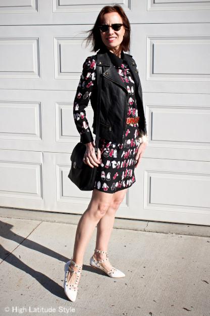 #Fashionover50 VB dress with VS motorcycle vest and vintage bag @ http://www.highlatitudestyle.com