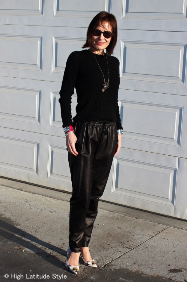 #fashionover40 woman in leather joggers