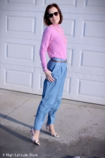 light blue leather pants, pink mock turtleneck