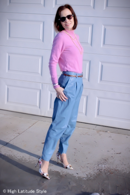 pastel trend light blue leather pants, pink mock turtleneck