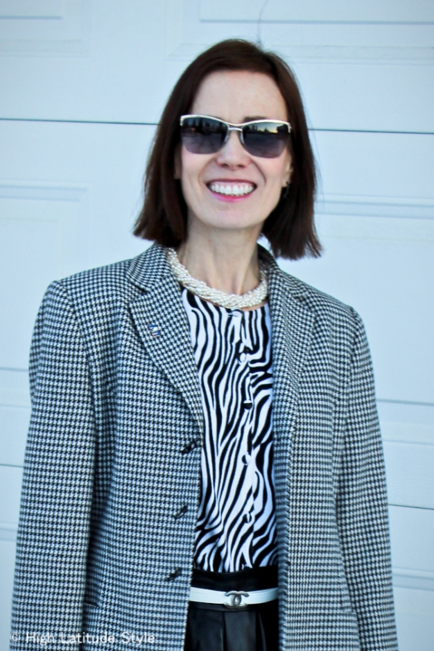Mixin prints and pattern: Zebra print with hounds tooth  | High Latitude Style | http://www.highlatitudestyle.com