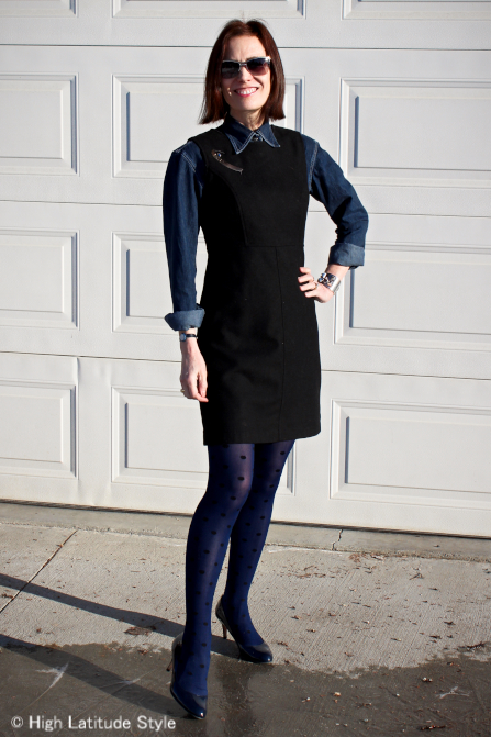 #over40fashion Woman in LBD and denim shirt work outfit
