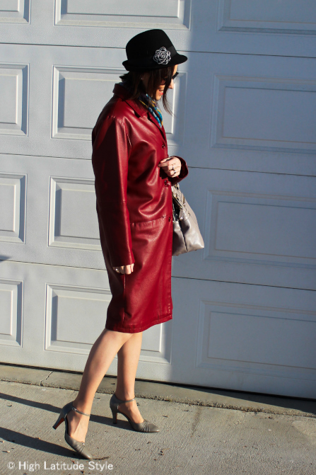 #over40 Leather coat with hat   | High Latitude Style | http:/www.highlatitudestyle.com