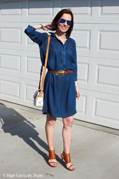 #chambray dress, #Michael Koers sandals, #RayBanMirroredSunglasses, #KieselsteinCordBelt