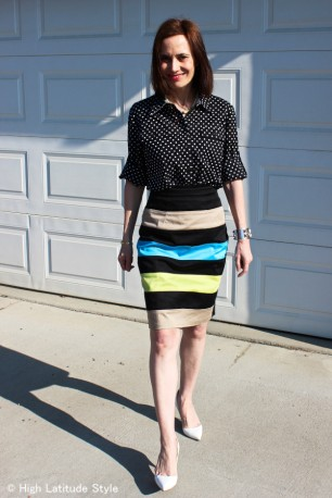 over 40 style woman in striped and polka dots work outfit