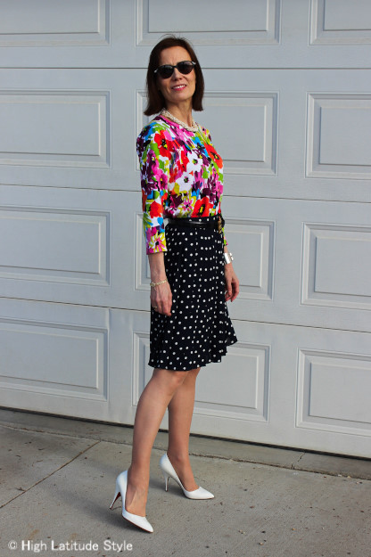 #styleover40 Floral top with polka dot pleated skirt | http://www.highlatitudestyle.com