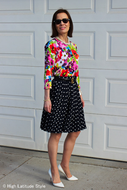 #fashionover40 Floral top with pleated polka dot skirt | http://www.highlatitudestyle.com