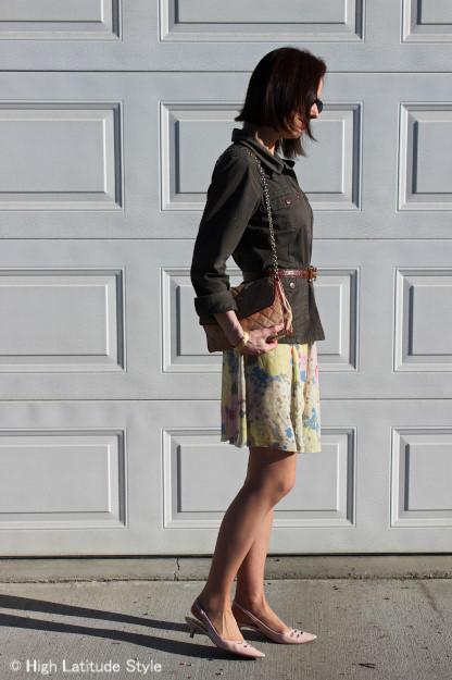yellow pastel floral skirt with blush pointy toe slingbacks, Chanel bag, utility jacket and belt | High Latitude Style | http://www.highlatitudestyle.com
