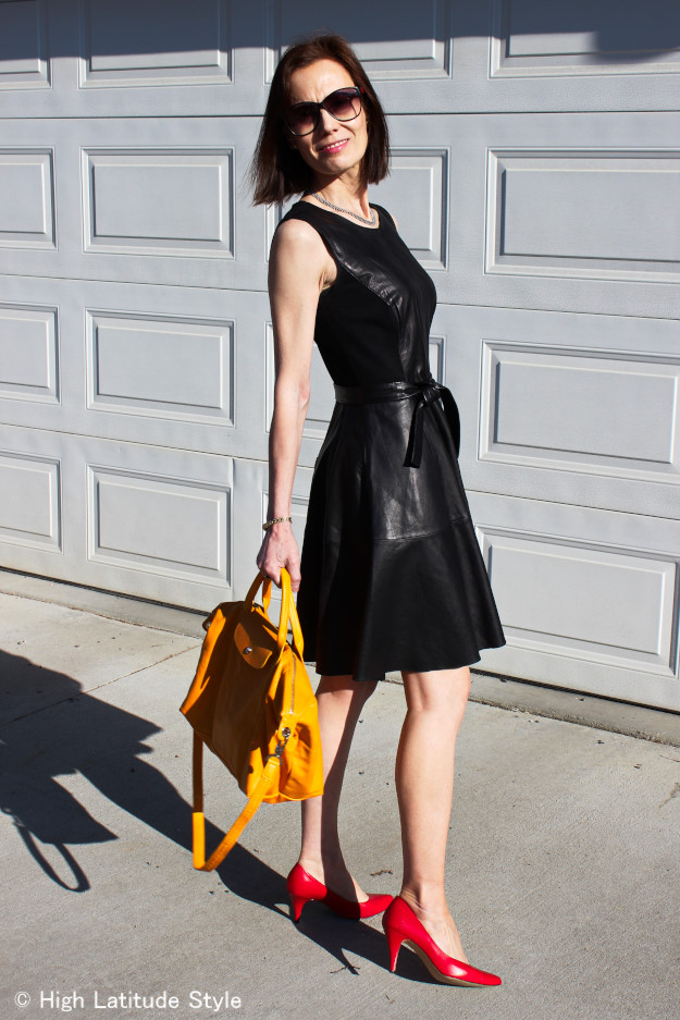 #Fit-and-flare-leather-dress #sunfloweryellowbag #redpumps