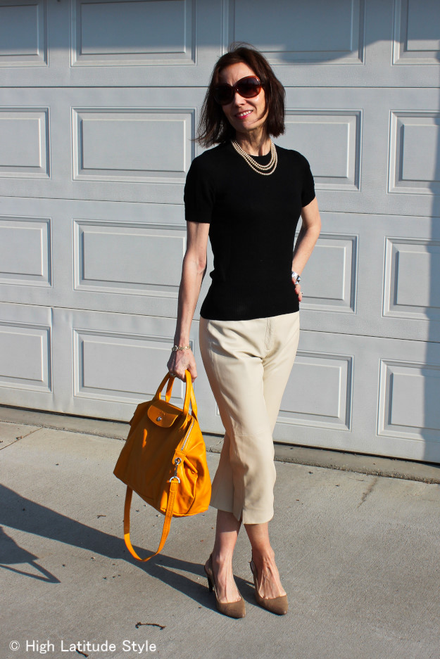 #fashionover40 woman in classic American outfit