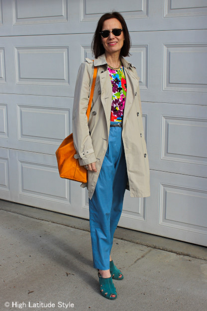 #over40 Floral top with leather pants | High Latitude Style | http://www.highlatitudestyle.com