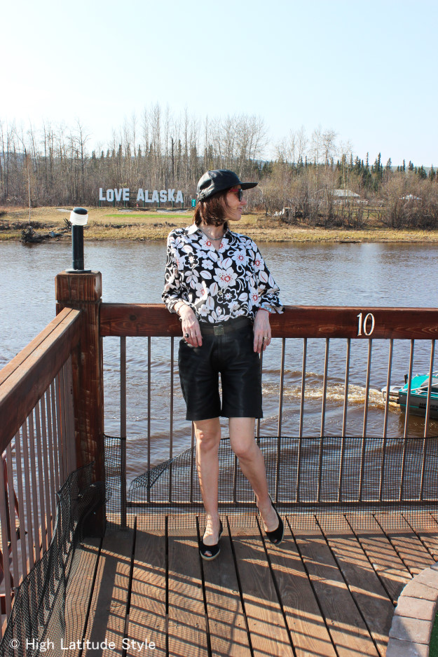 #fashionover50 festival outfit with leather shorts | High Latitude Style | http://wp.me/p3FTnC-3f8