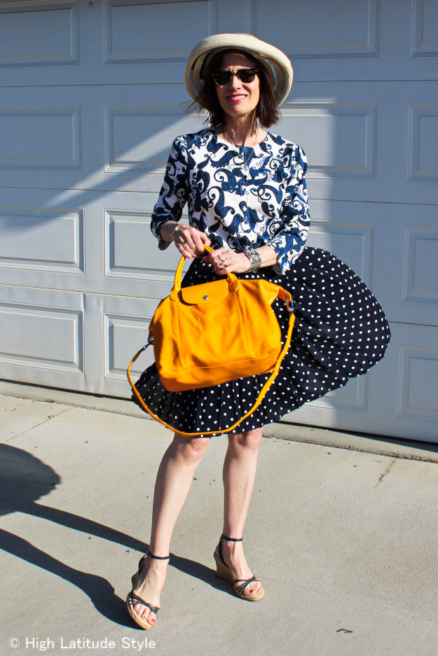 #fashionover40 mature woman in polka dot skirt with paisley top and hat | High Latitude Style