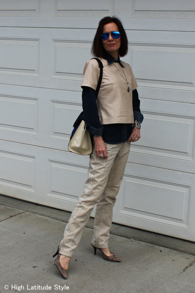 #over40 Mature woman wearing a leather top | High Latitude Style | http://www.highlatitudestyle.com