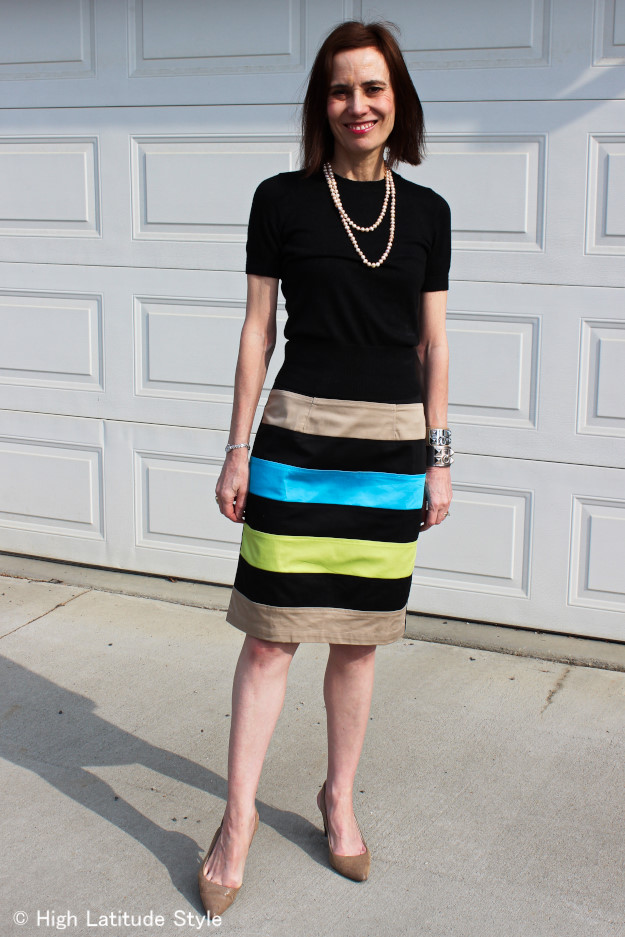advanced style woman in custom made skirt