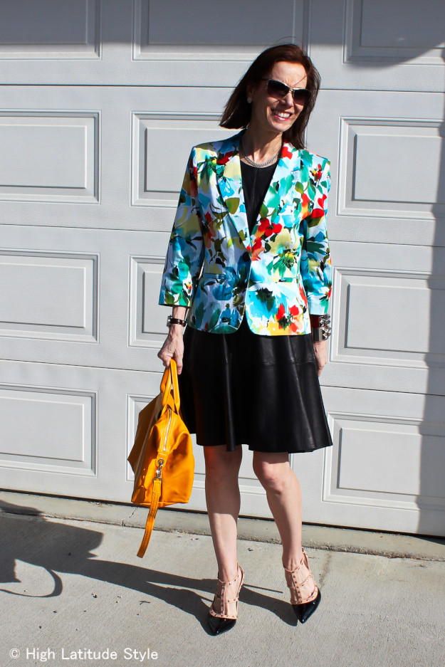 fashion over 40 fit-and-falre dress with floral blazer http://www.highlatitudestyle.com
