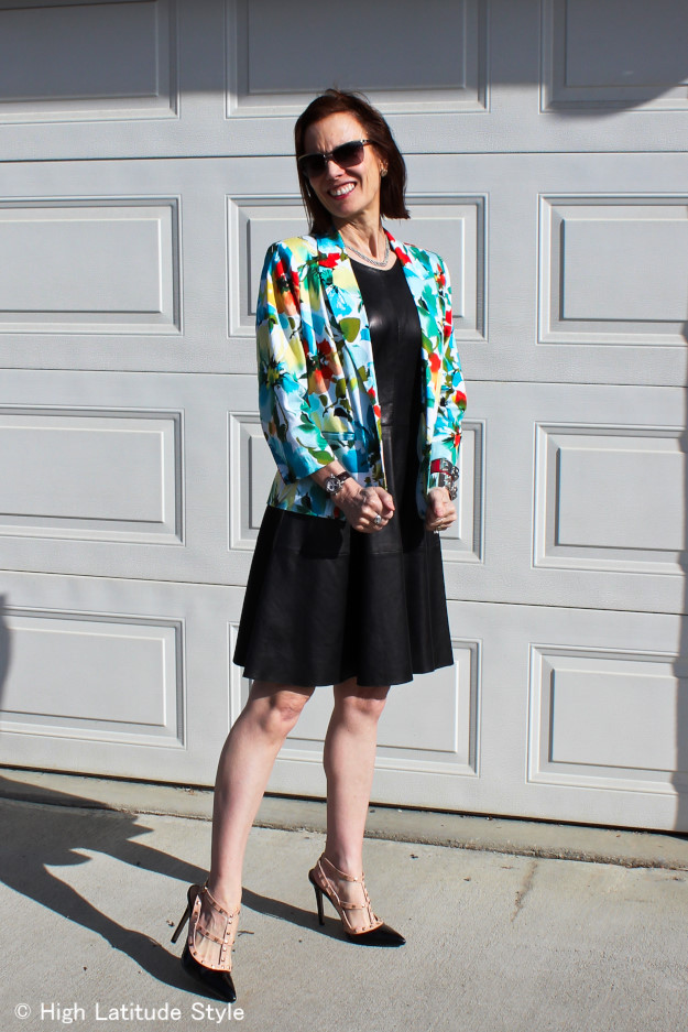 fashion over 40 floral blazer with fit-N-flare Leather Dress http://www.highlatitudestyle.com