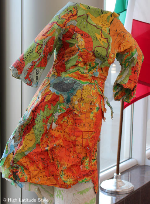 Art in Alaska paper dress from maps