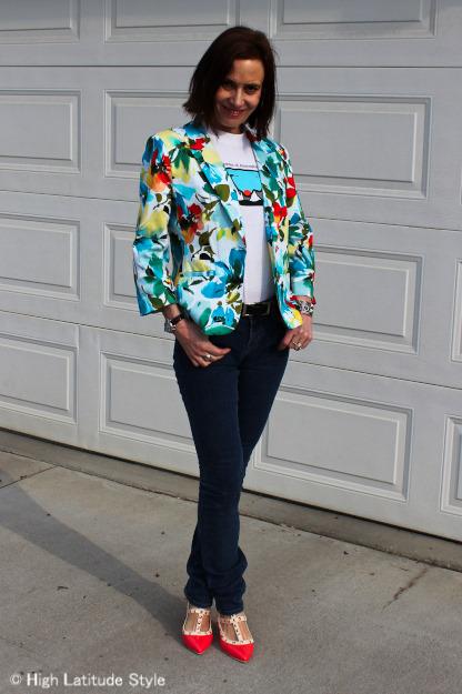 #floralblazer #JBrandskinnies #studdedpumps #collegeT | High Latitude Style | http://www.highlatitudestyle.com