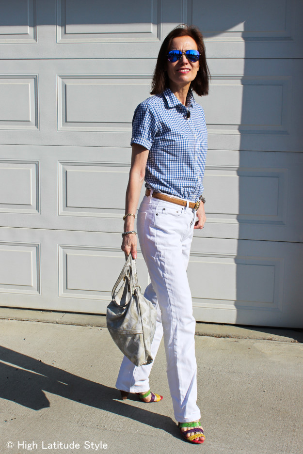 #fashionover50 gingham shirt and white jeans for casual Friday