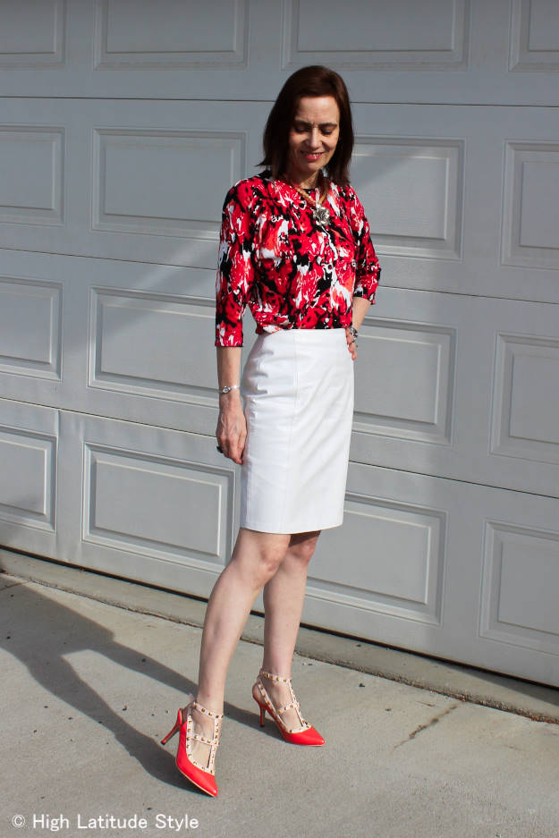 fashionover40 woman in work outfit with floral print