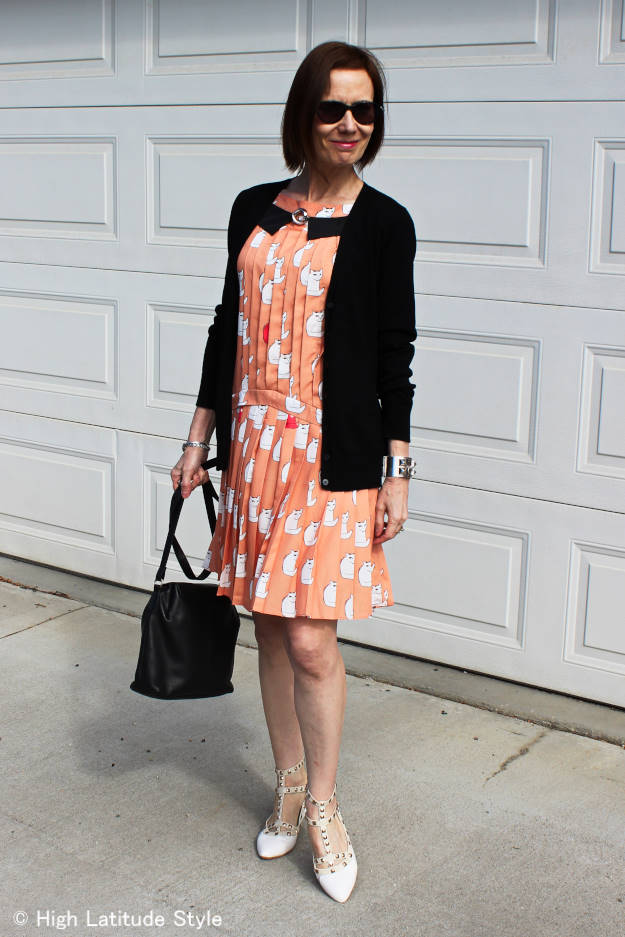 style over 40 woman in spring cat dress