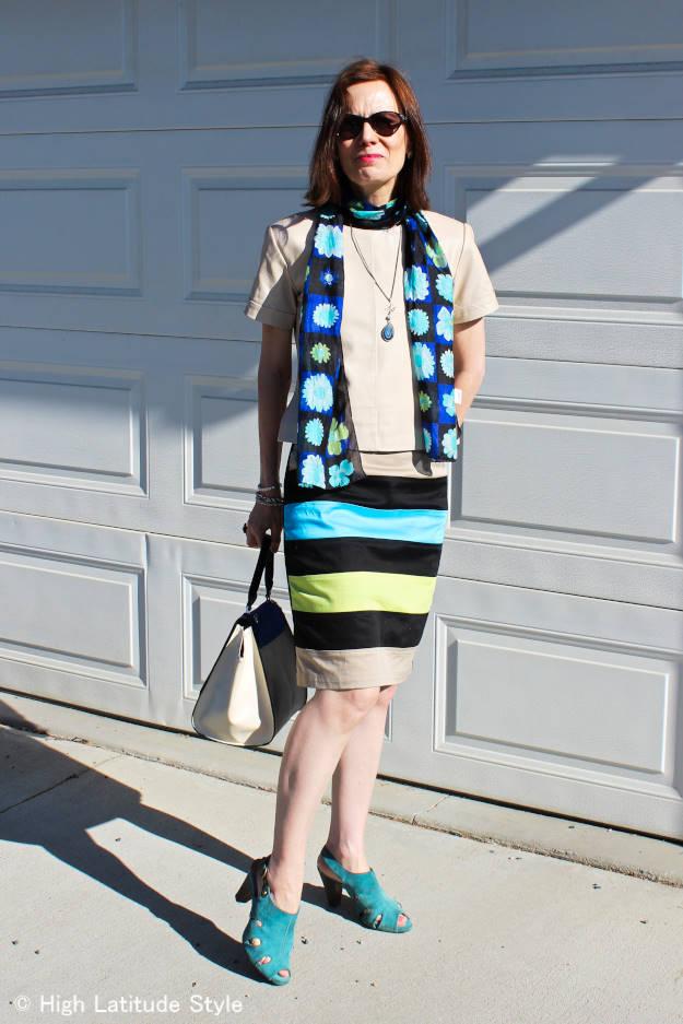 #eShakti #floralSilkScarf #leatherTop http://www.highlatitudestyle.com