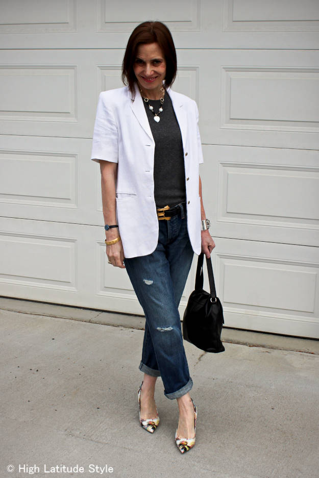 midlife woman looking posh chic in distressed BF jeans