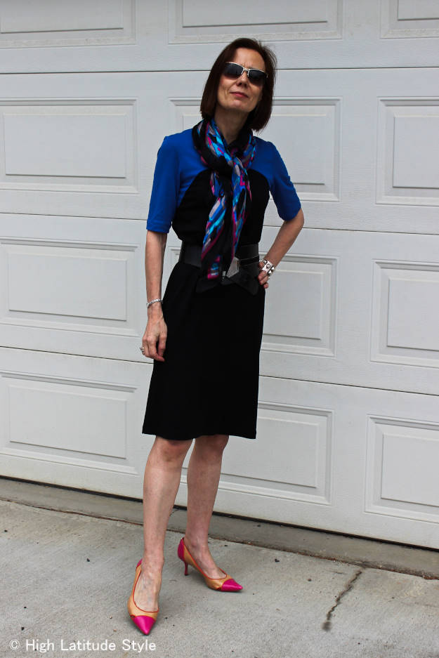 #RonenChen #jerseyDress #silkscarf #statementBelt #over-40-fashion High Latitude Style Mature women wearing a dress c/o Ronen Chen http://www.highlatitudestyle.com