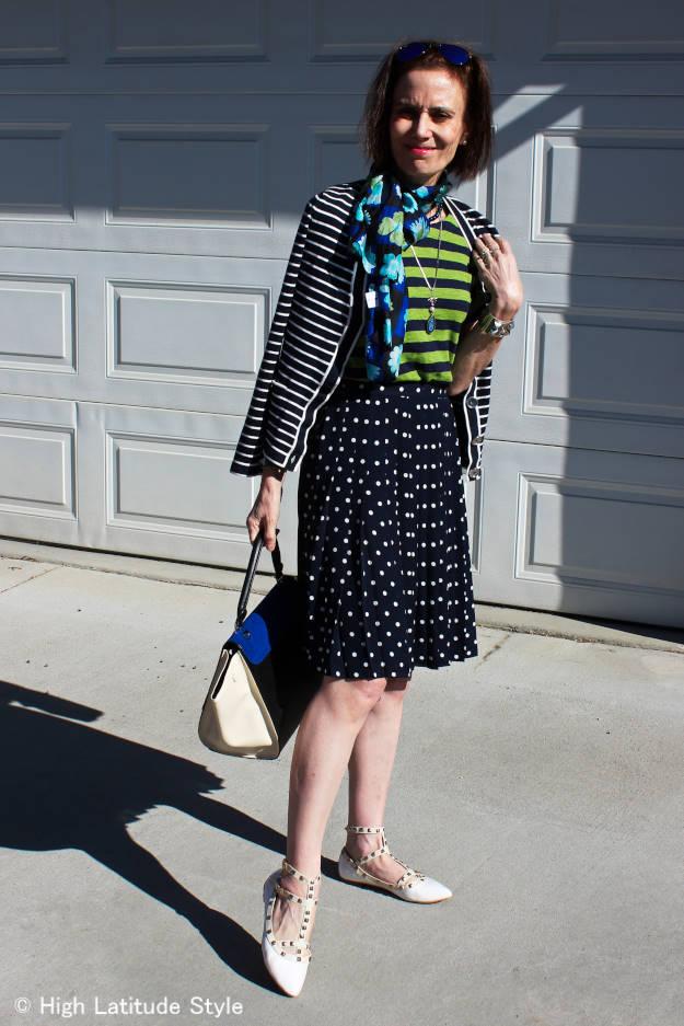 #Fashionover40 Best OOTM June polka dot pleated skirt  @ High Latitude Style @ http://www.highlatitudestyle.com