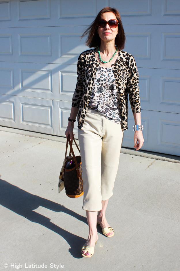 #leopardPrintCardigan #floralTankTop #leatherCapri #mules #mixingPrints http://www.highlatitudestyle.com