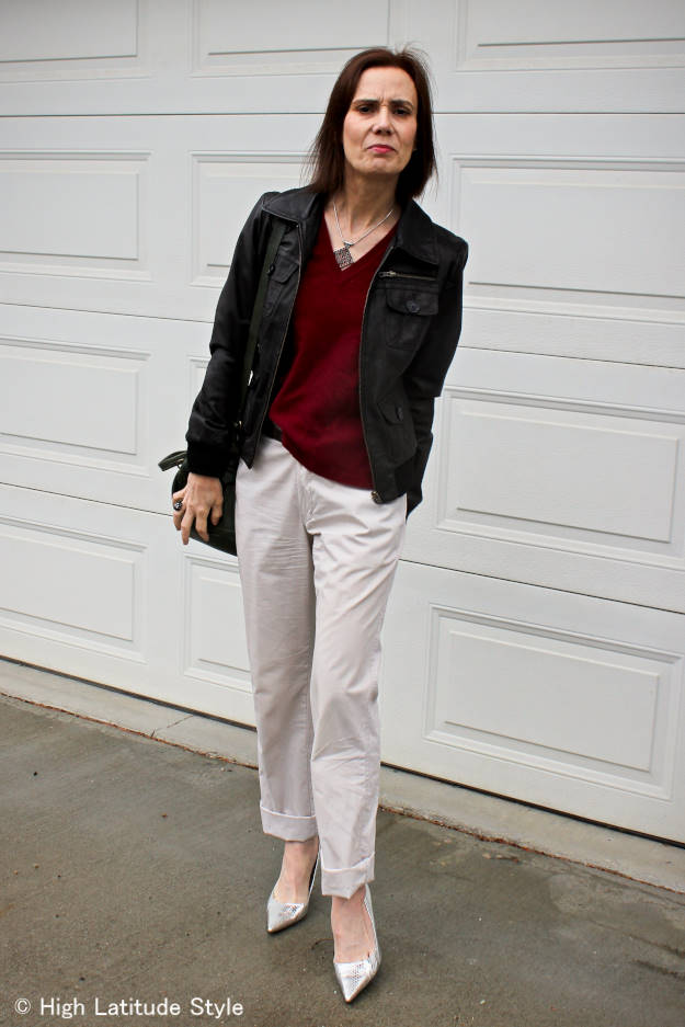 #fashionover40 mature woman in chinos with leather bomber jacket @ High Latitude Style