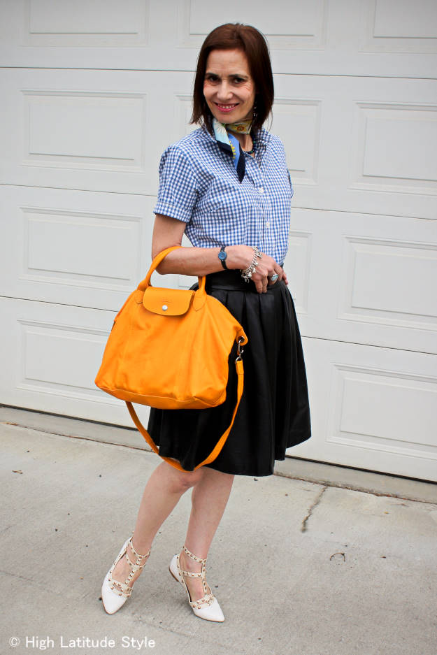 fashionover40 styling a full skirt and gingham shirt in a mature, but youthful way