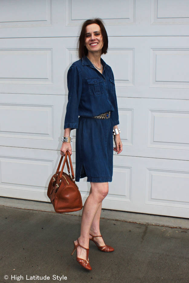#denimDress #statementBag #ethnicBelt #HighLatitudeStyle