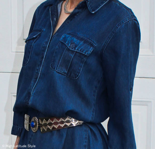 fashion over 50 woman in denim dress with ethnic belt