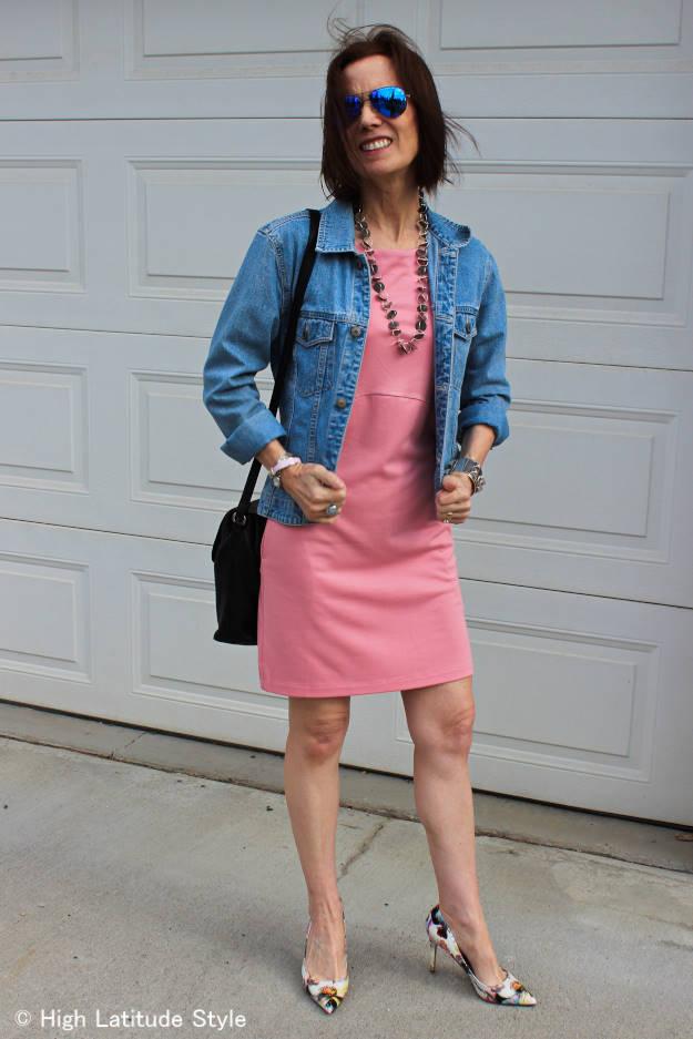 #over40 #LookbookStore, #LookbookStoreBabyPinkDress #denimJacket | High Latitude Style | http://www.highlatitudestyle.com